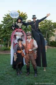 Steampunk stiltwalker costumes cider festival 2017 stilters