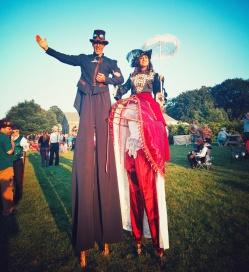 Stiltwalkers at Steampunk Cider festival 2017 Hala on stilts