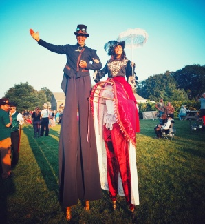 Stiltwalkers at Steampunk Cider festival 2017 Hala on stilts