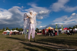 Stilt-walker Hala on Stilts Iridescent Dream Fairy costume Toronto Buskerfest 2017 sky 2