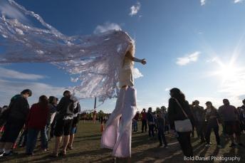 Stilt-walker Hala on Stilts Iridescent Dream Fairy costume Toronto Buskerfest 2017 flowing