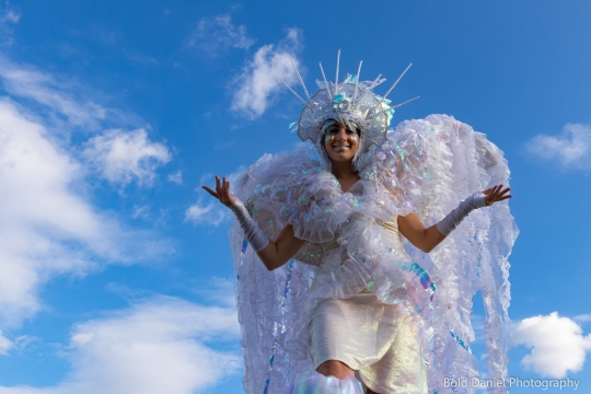 Stilt-walker Hala on Stilts Iridescent Dream Fairy costume Toronto Buskerfest 2017 sky