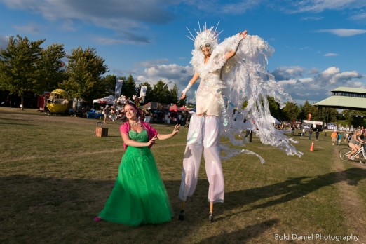 Stilt-walker Hala on Stilts Iridescent Dream Fairy Toronto Buskerfest 2017 with Bella Magic show