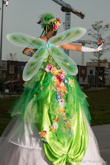 Hala on Stilts May flowers garden stiltwalker costume Toronto Entertainment back