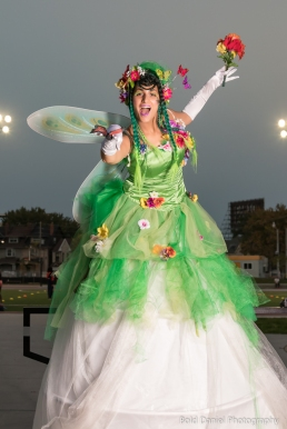 Hala on Stilts May flowers garden stiltwalker costume Toronto Entertainment happy