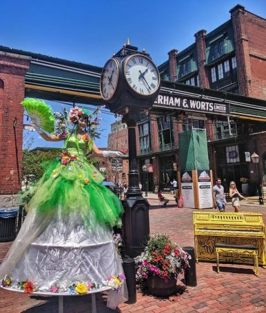 Toronto distillery stiltwalker Hala on stilts summer 2019