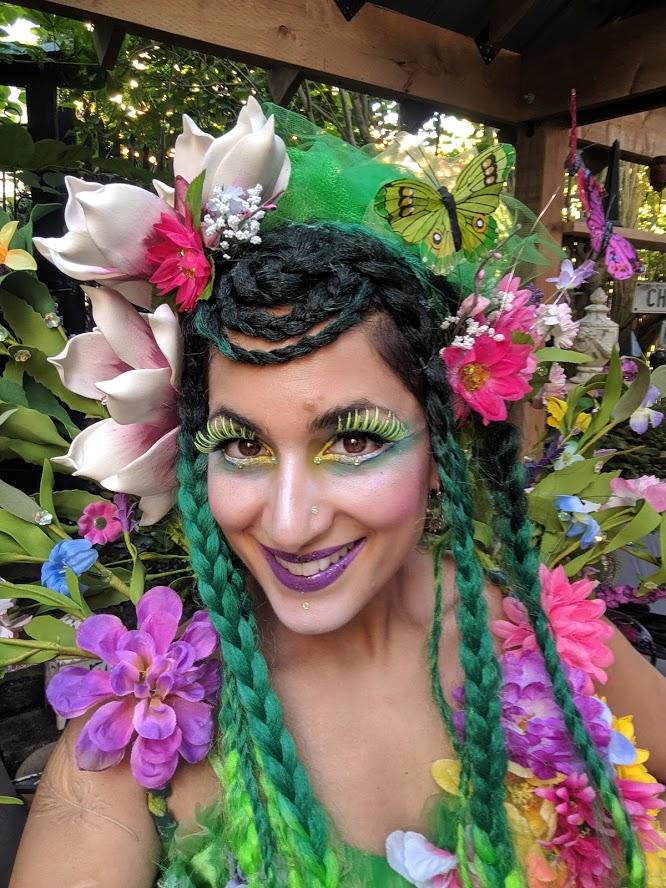 Hala on stilts garden fairy makeup stiltwalker entertainment Toronto