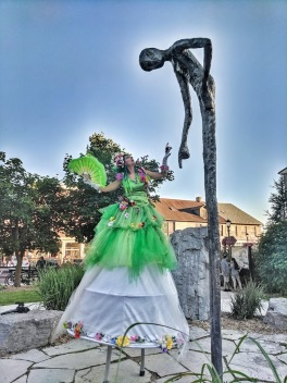 Hala on stilts in Elora tall man statue 2019 stiltwalker