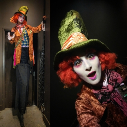 Mad hatter stilt-walker Hala on stilts Toronto entertainment Alice in Wonderland performer