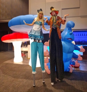 Stilt-walkers Alice in wonderland and Mad hatter on stilts Toronto entertainment 2017