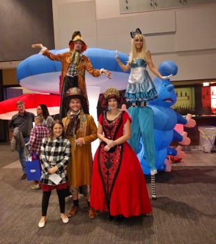 Stilt costumes Alice in Wonderland stiltwalkers mad hatter red queen stilt-walkers performers Toronto Vaughn woodbridge November 2017