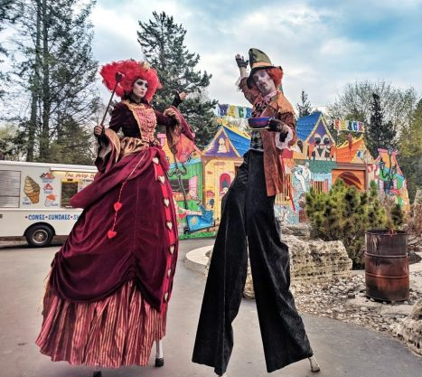 Red queen of hearts on stilts mad hatter stiltwalker wonderland Toronto performers 2019