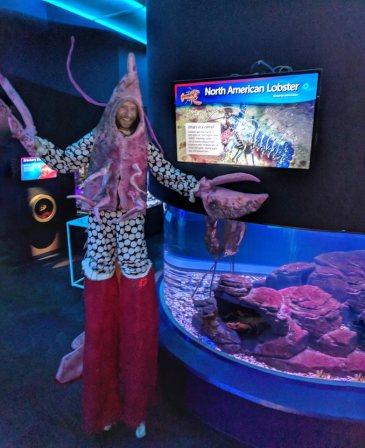 Lobster costume on stilts Toronto Stilt-walker