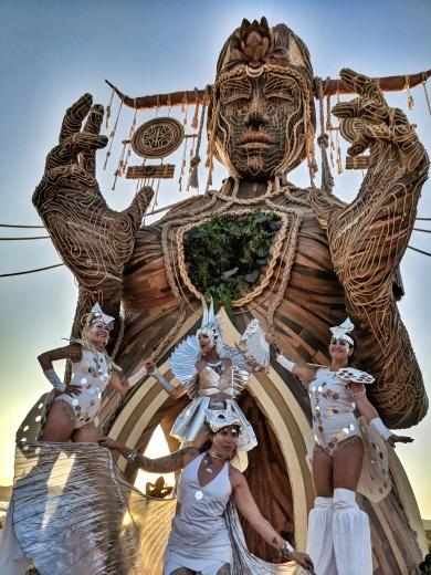 Booom Festival 2018 Mystika Circus Stiltwalkers Shaman Daniel Popper