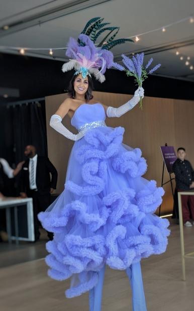 Lavender costume stiltwalker Hala on Stilts Toronto Entertainment