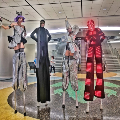 Space robot superheros on stilts Toronto stilt-walkers Hala on stilts