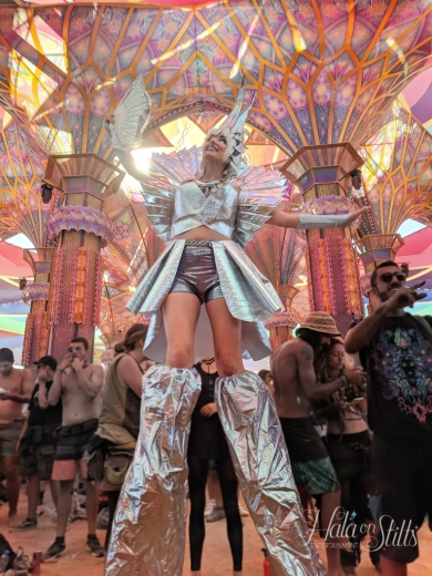 Boom festival 2018 Hala on Stilts Dance temple Cosmic Chrome Stiltwalker