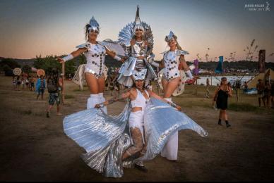 Stiltwalkers Boom festival 2018 Mystika Circus