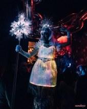LED Fiber optic dress stilt-walker Toronto stiltwalker Hala on stilts Ice queen