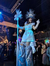 Hala on Stilts Toronto Stiltwalker fiber optic dress stilter performer