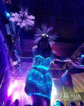 Fiber optic dress stiltwalker Hala on Stilts 2018 Toronto performer