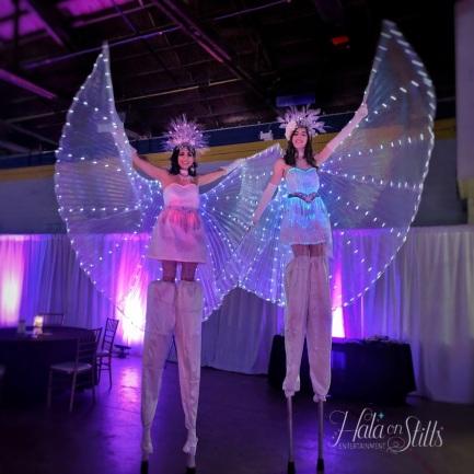stilts LED wings light dresses toronto stiltwalkers